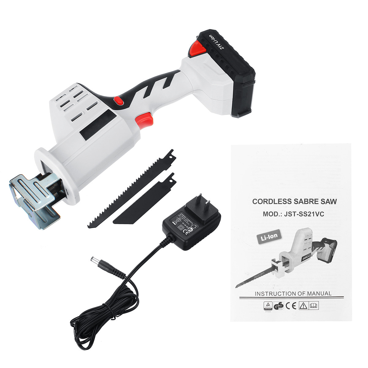 Portable 21V 4000mAh Cordless Reciprocating Electric Saw Blades Wood Metal Chain Saws Woodworking Cutting Power Tool
