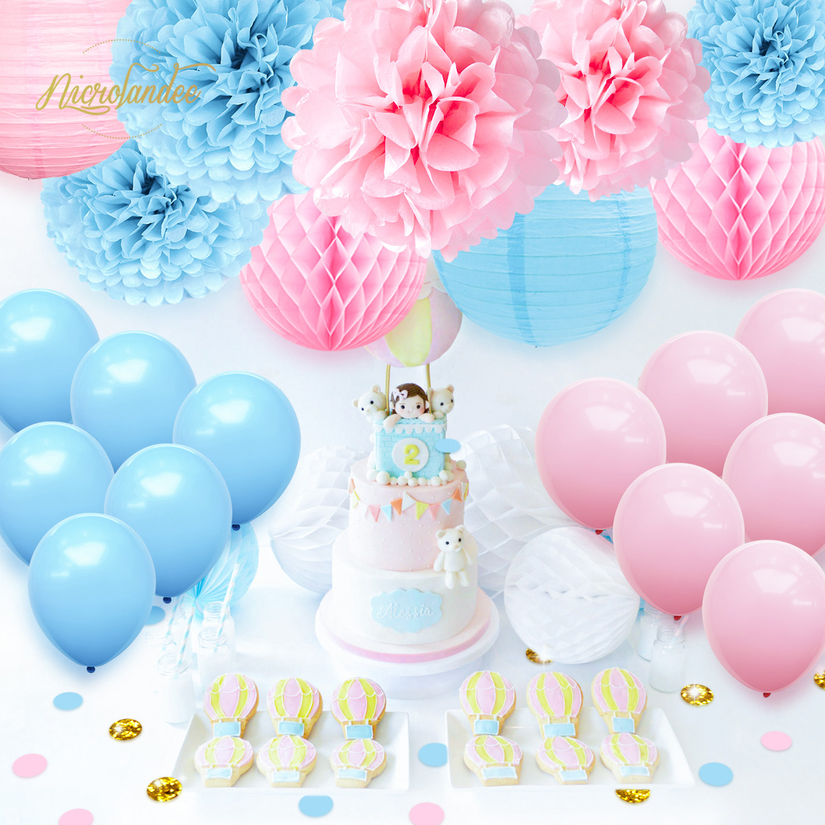 NICROLANDEE Rosa Azul Menino Feliz Aniversário Balões De Papel PomPom Menina Flor 22 pçs/set Decoração da Festa de Casamento Do Chuveiro Do Bebê DIY