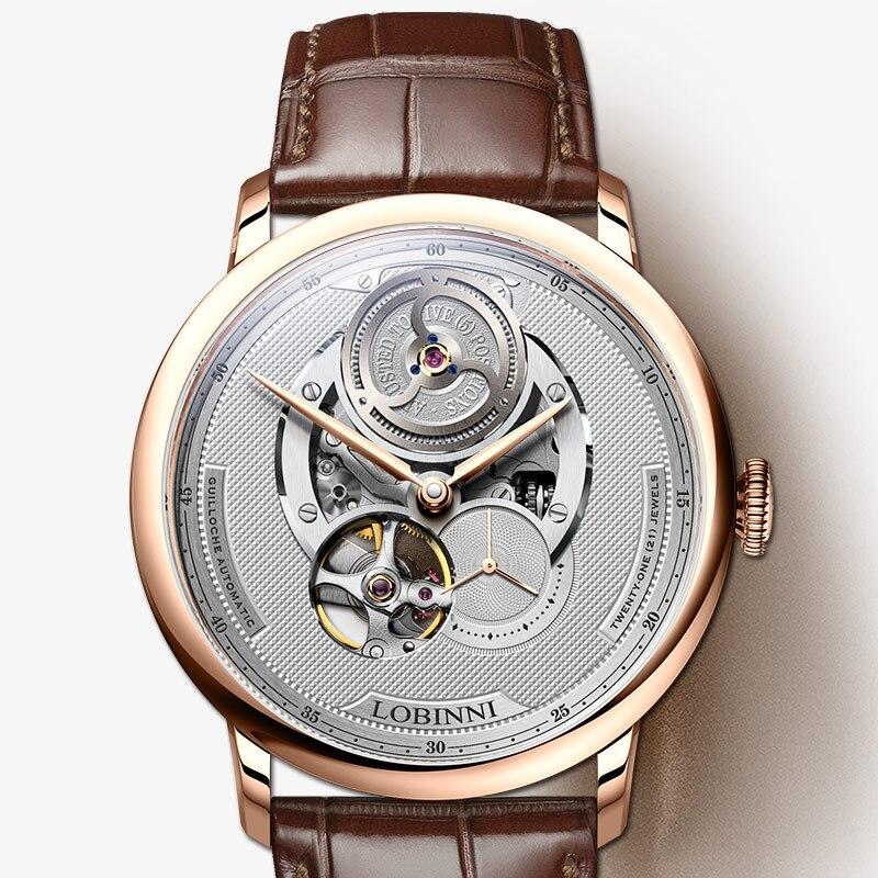 سويسرا العلامة التجارية الفاخرة LOBINNI أعلى اليابان استيراد السيارات الميكانيكية الرجال الساعات الياقوت 50M للماء relogio ساعة L16020-في الساعات الميكانيكية من ساعات اليد على  مجموعة 1