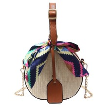 Fashion Women Straw Bag Crossbody Bags For Girls Scarves Round Saddle Bag Rattan Woven Shoulder Messenger Bags Lady Tote Handbag все цены