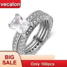 Vecalon Fashion Engagement Wedding band Ring Set for Women Princess cut 4ct 5A Zircon cz 10KT White Gold Filled Party ring