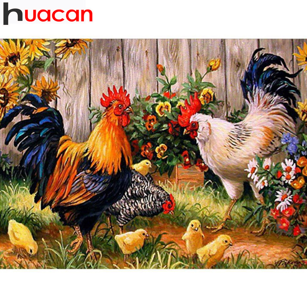 Pintura de bordado de diamantes de punto de cruz Cock Gallo Animal - Artes, artesanía y costura