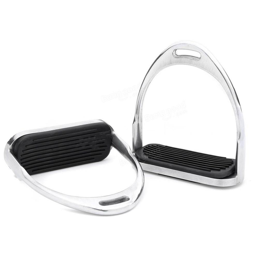 Image 3 - 1 Pair 120mm Stainless Steel Horse Stirrup Riding Equipment Equestrian Stirrups Anti slip Black Rubber Pad Horse Accessories-in Saddles from Sports & Entertainment