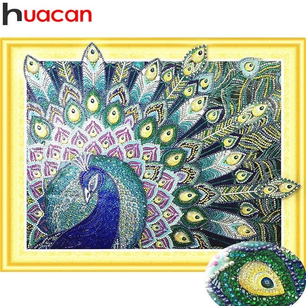HUACAN Speciale forma di Pittura Del Pavone Del Diamante Rotondo Trapano Fai Da Te Diamante Mosaico Diamante Animale Del Ricamo Set Artigianato 40x50 cm