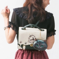Pu Backpack Alice In Wonderland Playing Cards Silhouette Female Student Schoolbag Lolita Bag 8446