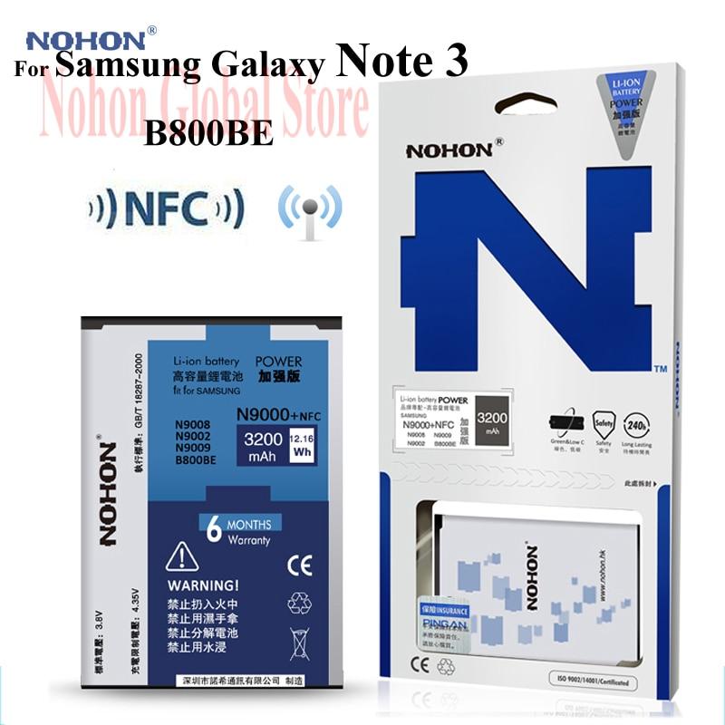 Original Nohon NFC Batterie Für Samsung Galaxy Note 3 III Note3 N9000 N9006 N9005 N9009 N9008 N9002 B800BE Hohe Kapazität 3200 mAh