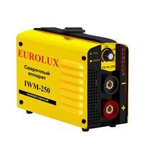 Аппарат сварочный инверторный Eurolux IWM250 Диапазон тока 10-250 А, 250A/70% , работа при пониженном напряжении, степень защиты IP21)