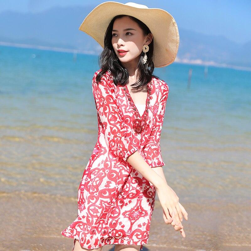 Qualité Haute Décontractée V Tenue Mode Imprimé D'été 4 Manches Blue 2019 Femme 3 Robe Vêtements pink Lâche Bohème Perles Cou De Les Pour Femmes IUOwq