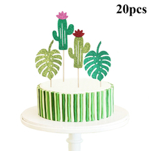 20PCS Fashion Hawaiian Party Card Decoration High Flash Pink Cactus Turtle Leaf Cake Insert Dessert Table
