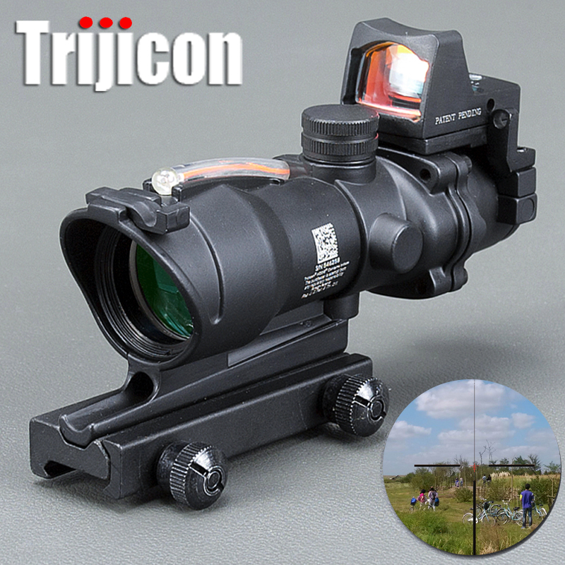 Acog 4x32 Rouge Fiber Source Fibre Réelle Portée W/Rmr Micro Red Dot Sight Marqué Version Noir riser Optique Instrument