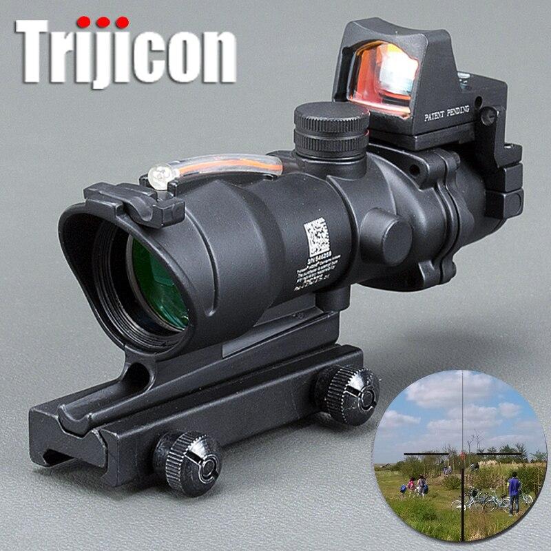 Acog 4x32 Rouge fibre Source Réel fibre Portée W/Rmr Micro viseur point rouge Marqué Version Noir Riser instrument optique