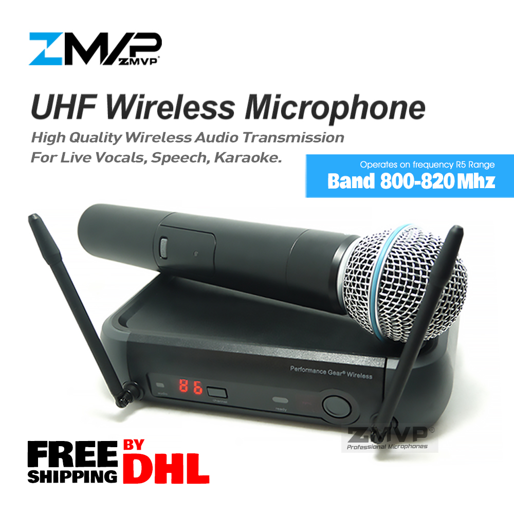 Free Shipping by DHL.!! UHF Wireless Microphone System With Super Cardioid Handheld Transmitter Microfone Karaoke Clear Sound! free shipping professional uhf bx288 p 58 karaoke wireless microphone system with dual handheld microphone cardioid transmitter