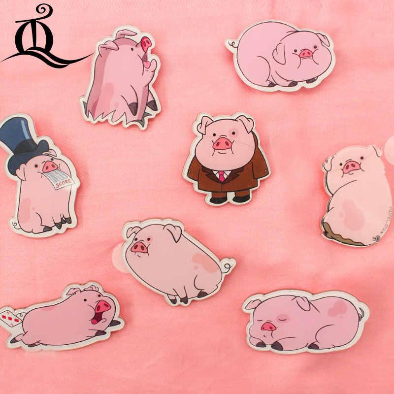 JL 1 Pcs Campuran Berwarna Merah Muda Babi Kartun Yang Indah Ikon Pada Pin Kawaii Ikon Lencana Bacges Di Ransel Lencana untuk pakaian Akrilik Lencana Z1
