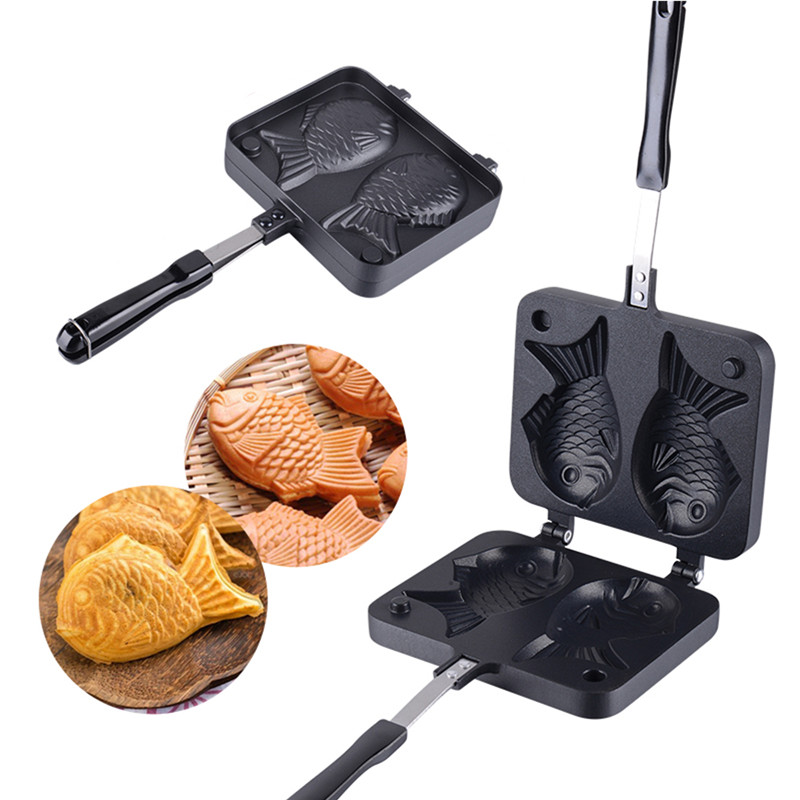2 Molds Taiyaki Fish Shaped Waffle Pan Maker Non-stick Buscuit Cake Bake Bakeware Home Kitchen DIY Dessert Cooking Pan Plate