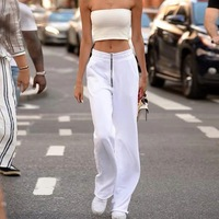 2019 Straight Women Long Pants White Brief Zipper Ladies Sweatpants Fashion Slim Office Girl Pants Casual Solid Loose Women Pant