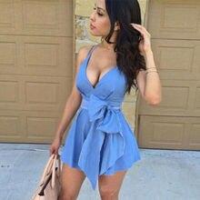 Summer Dresses HOT Women Sexy Blue Sleeveless Deep V-Neck Lace Up High Waist Strap Mini Dress