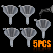 5pcs Funnel Clear Mini Plastic Funnels Perfume Diffuser Oil Liquid Lab Filling Tool For Kitchen Tool Gadgets 500ml clear glass separatory borosilicate funnel with ptfe stopcock pear shape funnel chemistry lab supplies