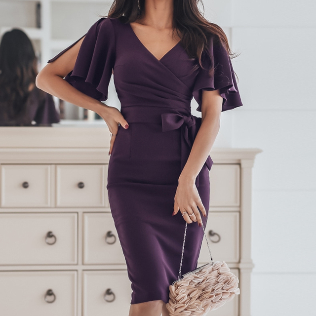2019 Summer Party Dress Women Elegant Purple V-Neck Batwing Sleeve Slim Pencil Dress Bodycon Formal Dress