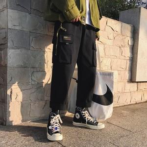 Image 4 - 2019 男性のファッション綿ゆるいカジュアルな貨物ポケットパンツストリート黒/カーキ色ズボンジョガースウェットパンツサイズ M 2XL