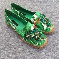 Фирменные модные женские туфли Одежда высшего качества Повседневное женские туфли на плоской подошве принт с зелеными листьями с балетки с