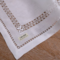 N011: Linen 4 pieces/set placemats with drawnwork White Handmade embroidery place mat Rectangular Tableware mat