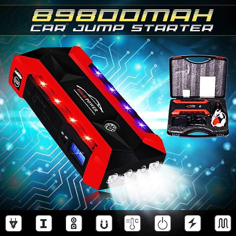 Chargeur portatif de secours de chargeur de batterie de paquet de secours de démarreur de saut de voiture de puissance de 89800 mAh 12 V LCD 4 USB