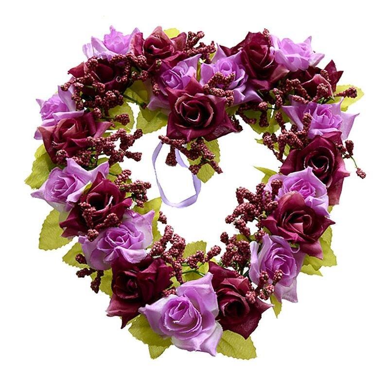 Flower Wreaths For Weddings: Heart Shaped Artificial Flower Wreath Door Decoration