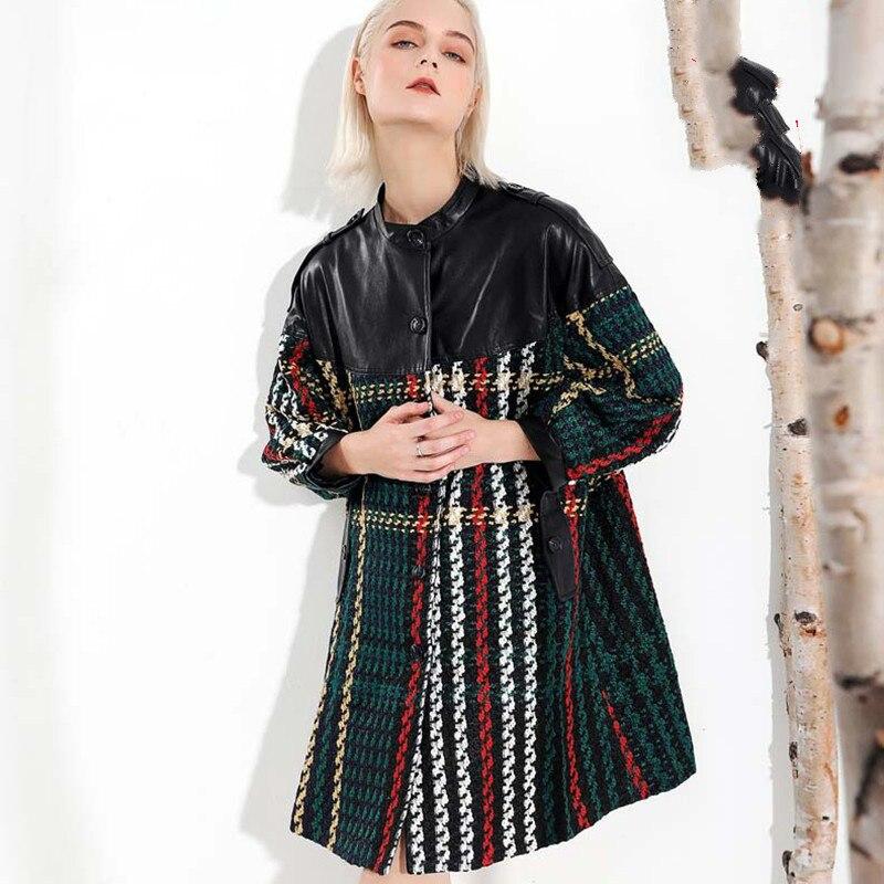 Longues Montant Coloré Rayé Manches Hiver Lâche À Veste Femmes Black Nouveau Pu Cuir Mode Automne Tricoté M12 En Noir Col 2018 wF0fIS