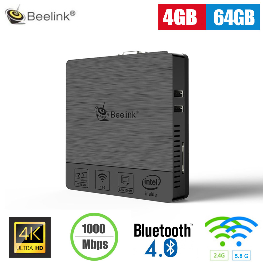 Beelink BT3 Pro Mini PC Intel Atom X5-Z8350 4GB 64GB Support 5.8G WiFi Bluetooth4.0 1000Mbps Media Player Support Windows 10