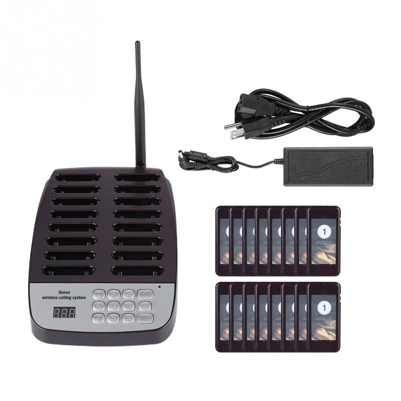 Wireless Pager System Restaurant Queuing Calling System 16 Pager 100 240V High Receiving Sensitivity of High