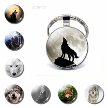Wolf & Moon Pendant Keychain Vintage Men Jewelry Glass Cabochon Key Chain Holder Fashion Accessories Silver Ring Gift