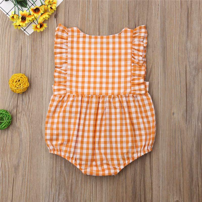 Для новорожденных обувь для девочек плед Fly без рукавов Ползунки Комбинезоны с пуговицами наряды Детский костюм для подвижных игр летняя хлопковая одежда