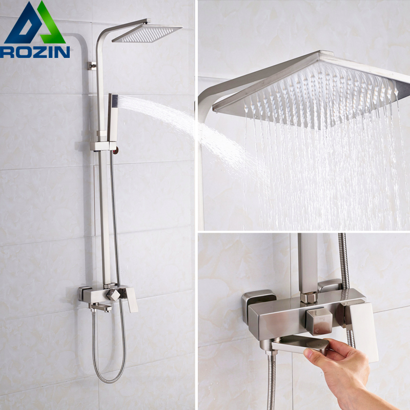 Brushed Nickel 16 Rainfall Shower Faucet Set Wall Mount Square Bath Shower Mixer Bathroom Shower System