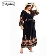 цены Pickyourlook Oversized Women Dress Plus Size Autumn Plus Size Vintage Robe Femme Elegant Evening Party Belted Large Size Dresses