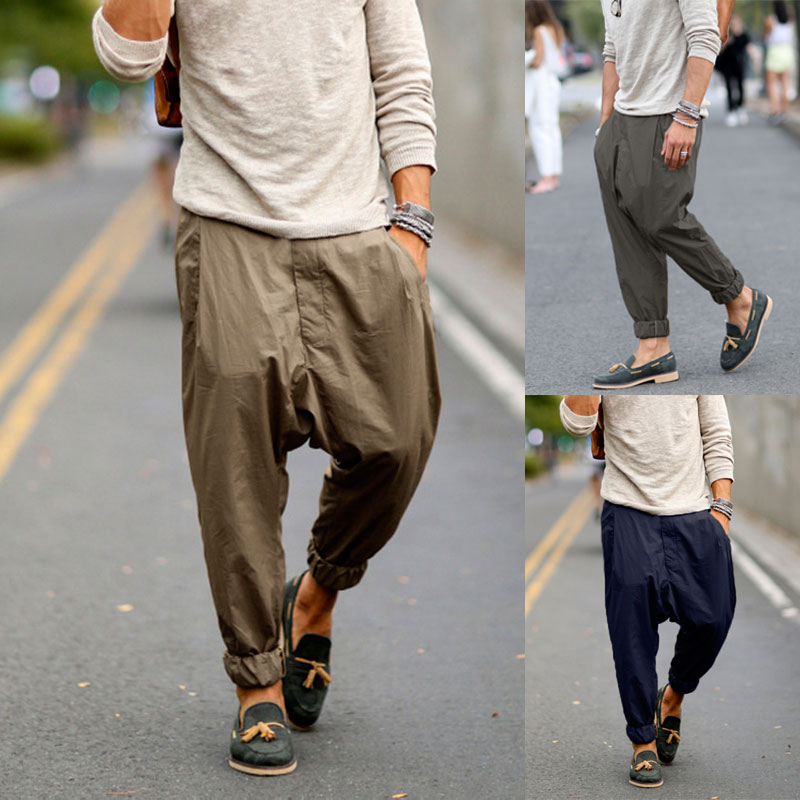 INCERUN Streetwear Mens Straight Pants Button Solid Joggers Fashion Business Brand Trousers Men Casual Harem Pants Hombre 2019