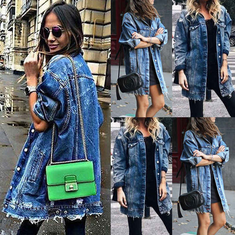 Frauen Grundlegende Mantel Löcher Baggy Denim Jacke Langarm Lose Straße Stil Outwear Winter NEUE