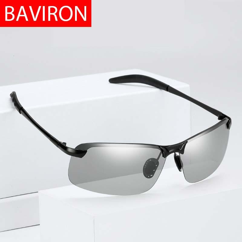BAVIRON Mudança de Cor Óculos De Sol Dos Homens Polarizados Dia Noite Óculos de Sol Masculino Óculos uva uvb Clássico Espelhado óculos de Sol Óculos de Condução Do Vintage