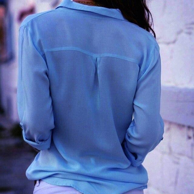 Gentillove-Blusa de manga larga de chifón para verano, camisa elegante con cuello en V de talla grande 3XL para mujer, 2019 2