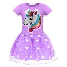 AmzBarley Girls unicorn dress Cotton Sequin unicornio Mesh tutu toddler girl clothes princess dresses birthday outfit