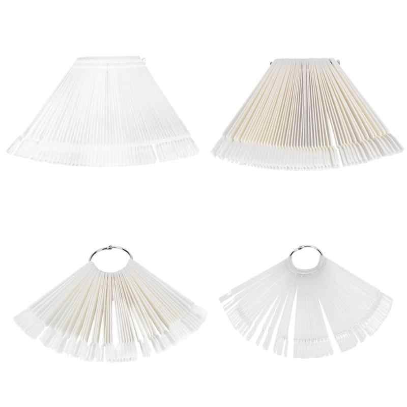 50 sztuk sztuczne tipsy do paznokci fałszywe Nail Art Fan Shaped polski żel UV naklejki karty akrylowe wykres paleta pierścień sprzączki praktyka uchwyty do pokazywania