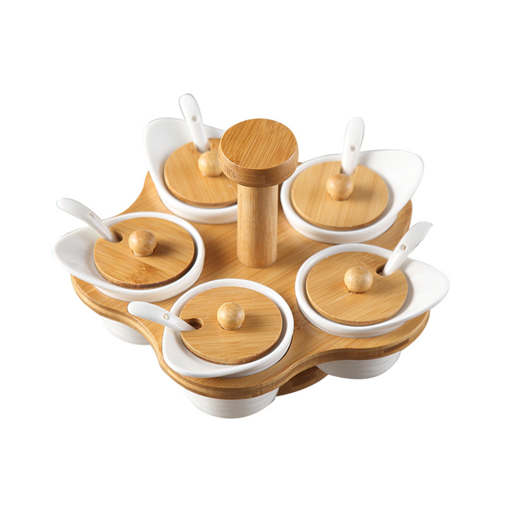 US $20.97 45% OFF|Spice Jar Ceramic Rotating Portable Wood Cover Condiment  Container Seasoning Box Salt Canisters for Kitchen Counter Home-in Salt ...