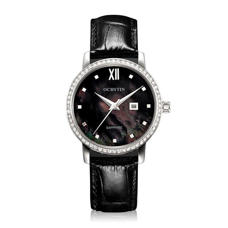Di modo delle donne orologi con diamanti cinghia di cuoio Agostino orologio al quarzo di lusso femminile orologio da polso impermeabile naturale pearl dialDi modo delle donne orologi con diamanti cinghia di cuoio Agostino orologio al quarzo di lusso femminile orologio da polso impermeabile naturale pearl dial