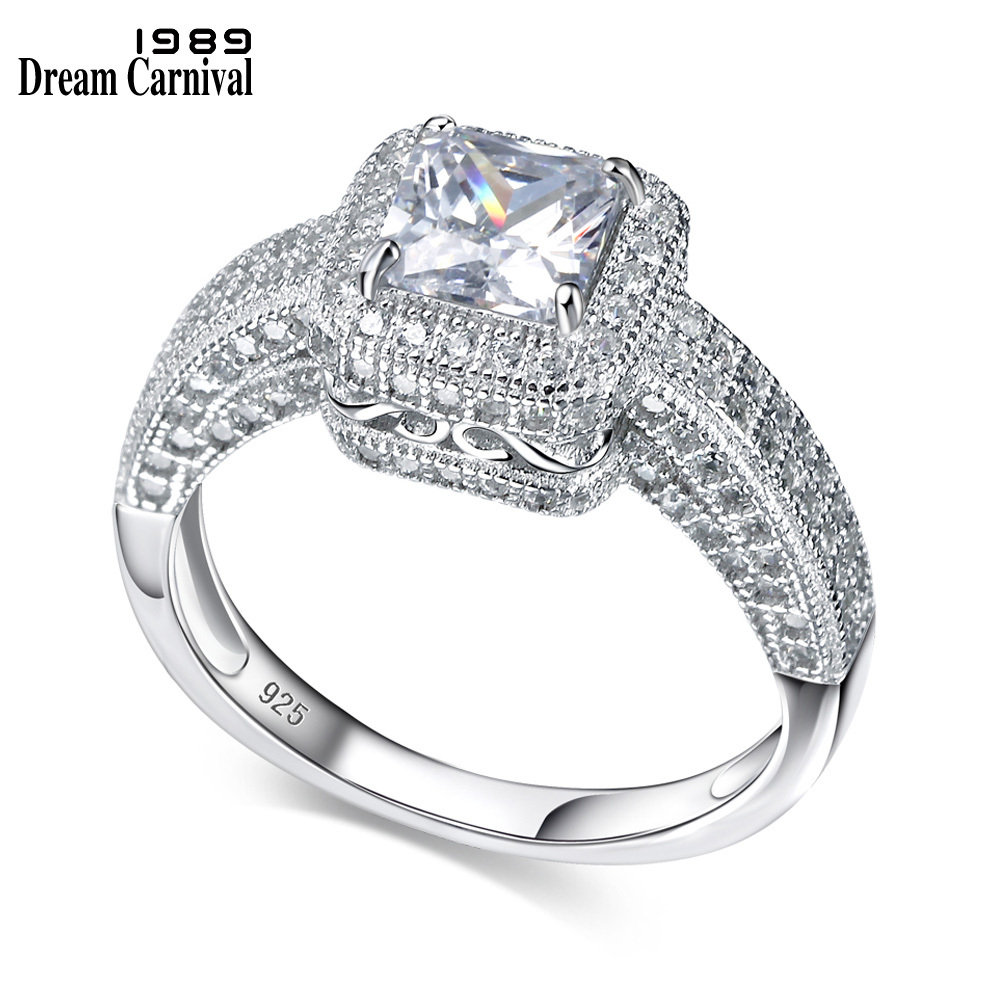 0d9daaf9e689 DreamCarnival 1989 plata 925 nuevo regalo clásico de alta calidad AAA  Zirconia cúbica fina anillo ...