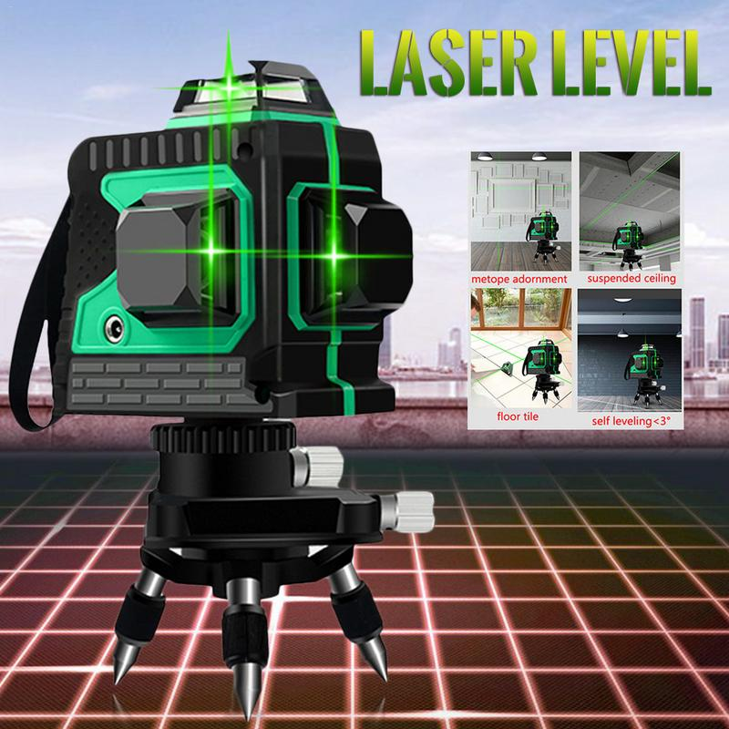 3D IP54 Étanche 12 Lignes Vert Laser Niveaux Auto-Nivellement 360 Horizontal Et Vertical Croix Super Puissant Vert Laser faisceau - 3