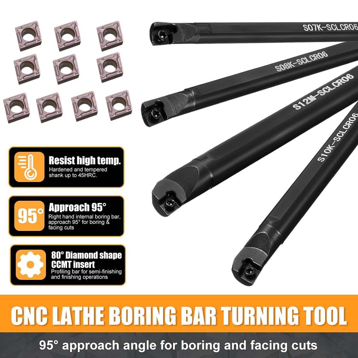 7//10//12mm S07K//S10K//S12M-SCLCR06 Lathe Holder Turning Tool 10* CCMT0602 Insert