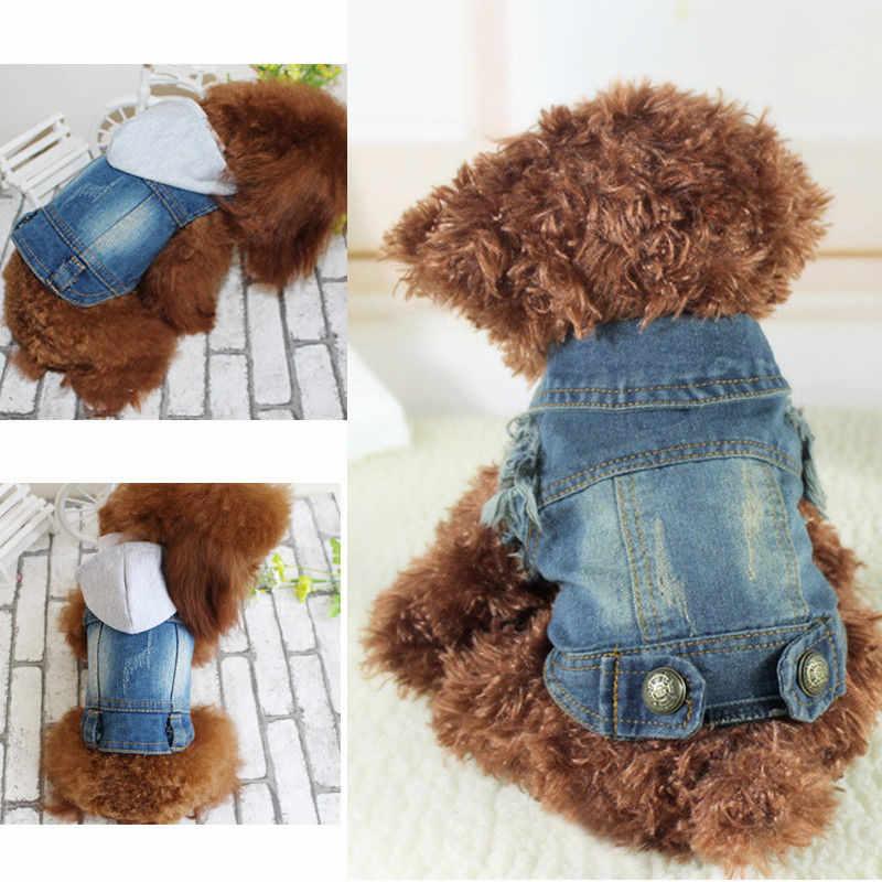 Собака кошка одежда свитер голубые джинсы из денима Щенок Одежда, куртка костюм одежда