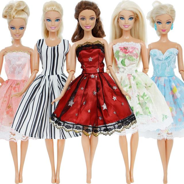 5 Pcs Lot Fashion Dress Mixed Style Wedding Party Gown Colourful Princess  Skirt Accessories Clothes For Barbie Doll DIY Gift Toy fd57a765568c