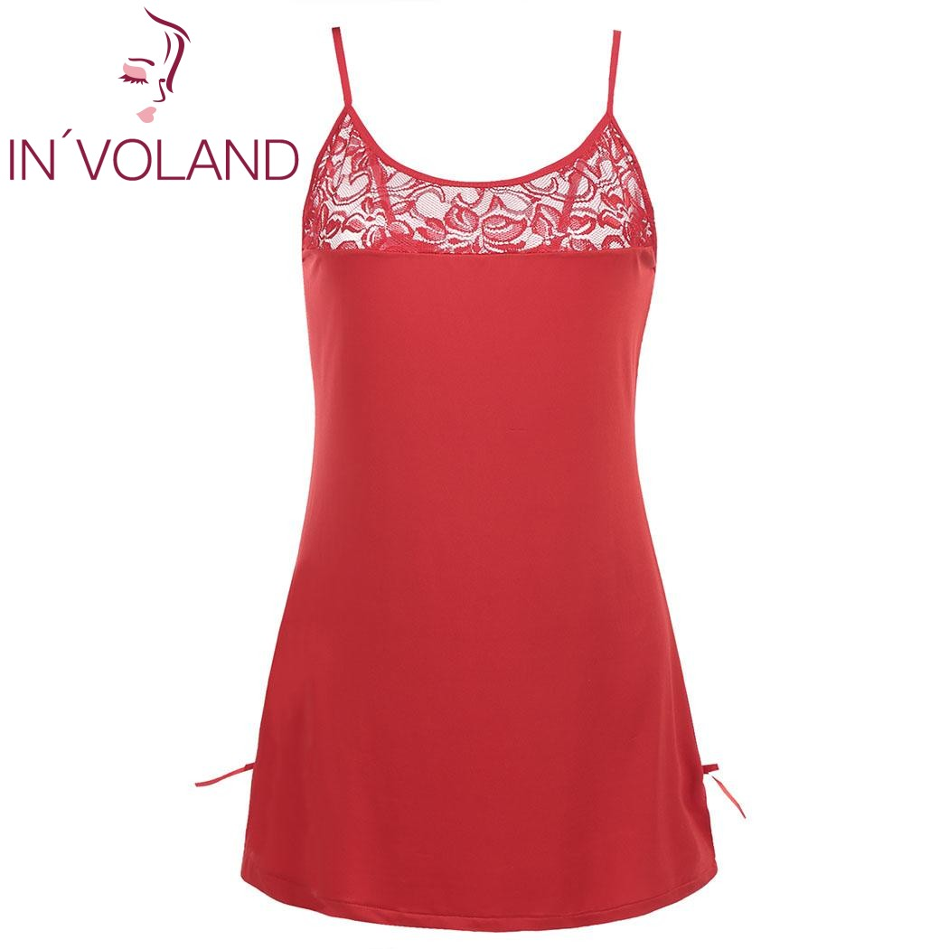 IN'VOLAND Plus Size Women Sexy Lingerie Nightwear Dress L-4XL Slim Pencil Mini Backless Lounge Nightgowns Sleepshirts Big Size