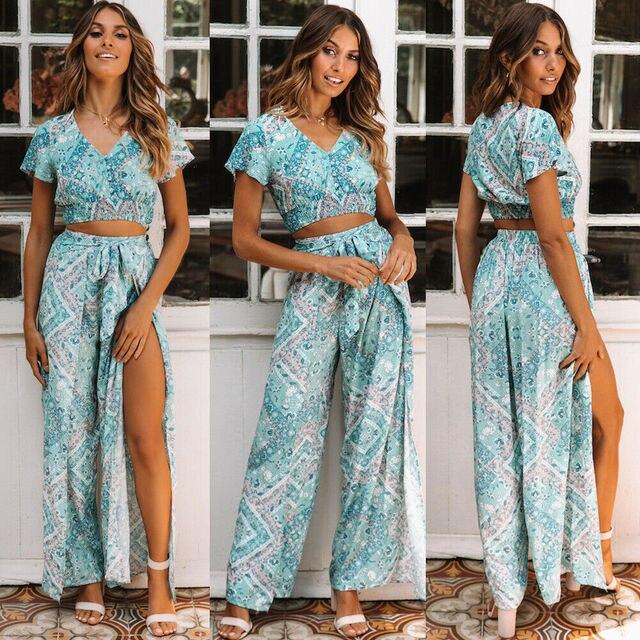 Fashion Women Ladies Boho Long Pants Beach High Waist Floral Bandage Loose Wide Leg Long Pant Trousers