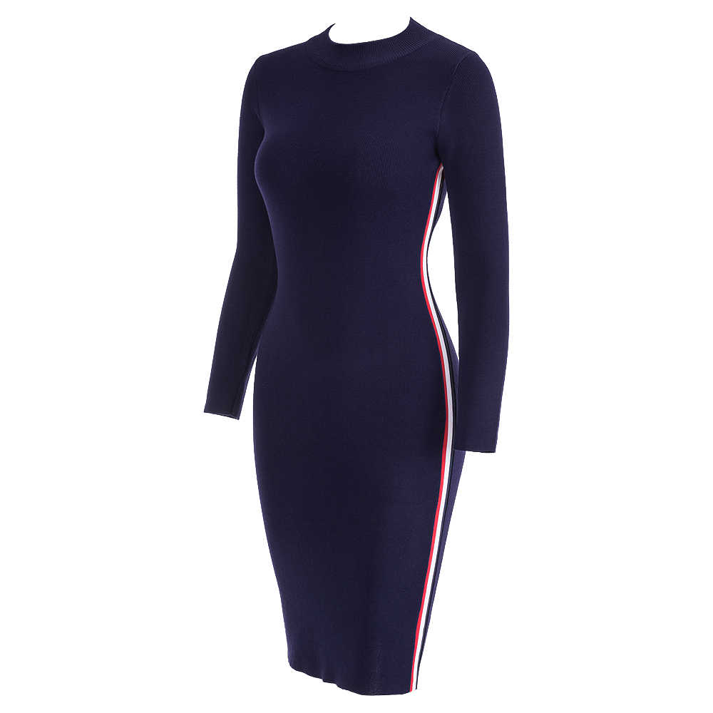 14034f0174781 Samuume 2019 Autumn Winter Women Striped Knitted Dresses Long Sleeve Bodycon  Sexy Tight Midi Wrap Sweater